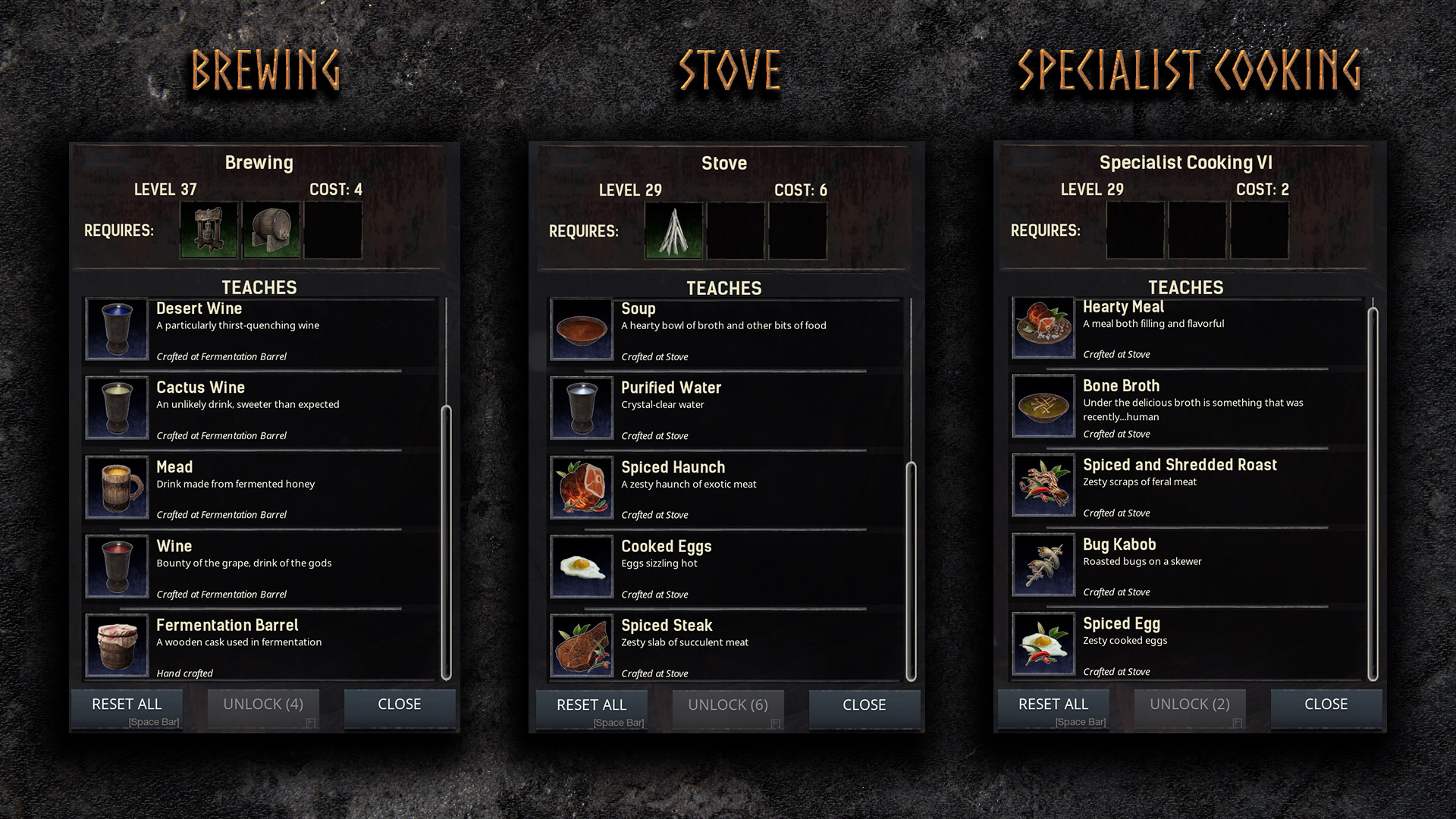 Dev blog 18 eat and drink to your hearts content conan exiles you can find many specialist cooking recipes in npc villages like with the darfari in the south or the forgotten tribe of cimmerians in the north forumfinder Images